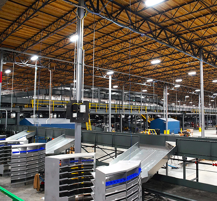 Ontrac warehouse with conveyor belts