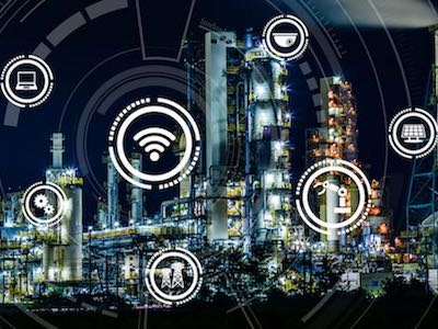 smart factory and Internet of Things. Sensor network. Factory Automation. conceptual mixed media.