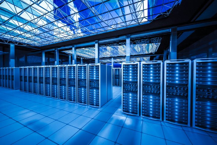 The City's Brain-Data center in the City.the high view from cooling equipment and network servers racks with light,3D physically rending high quality.